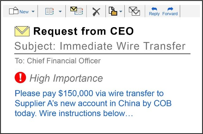 This is an image showing an example of a High Importance email created by a criminal hacker impersonating an executive of a company instructing an employee to process a wire transfer and issue payment.
